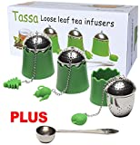 TASSA Loose Leaf Tea Infuser, Tea Ball Strainers, Steepers Set w/ Cute Silicone Handle & Trays 3X PLUS Stainless Steel Spoon.