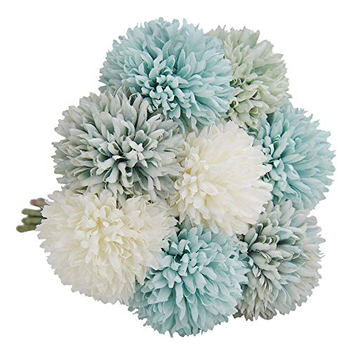 N&T NIETING Artificial Flowers 8Pcs Silk Artificial Hydrangea for DIY Bridesmaid Bridal Wedding Bouquet, Home Garden Office Party Wedding Decoration (Mixed Blue) ()