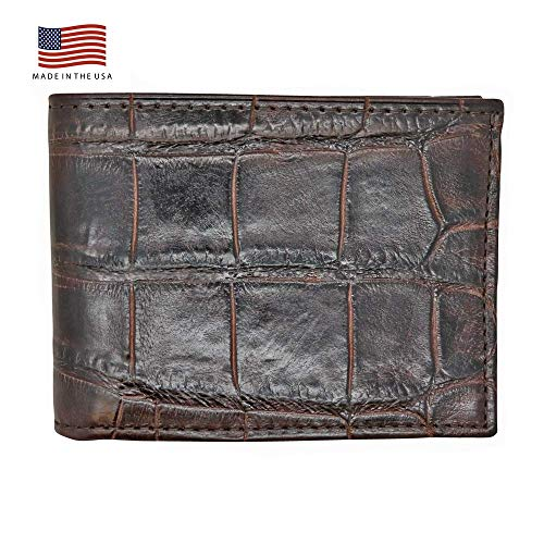 Brown Genuine Millennium Alligator Bifold Wallet - RFID Blocking - American Factory Direct - Large Tile - Made in USA by Real Leather Creations ()