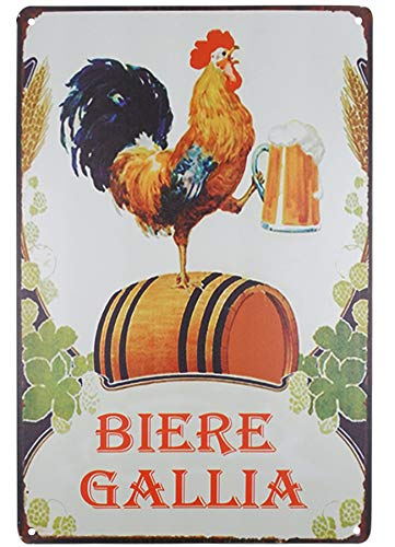 (SKYC Biere Gallia Funny Designs Rooster Beer Tin Sign Vintage Retro Rustic Metal Tin Sign Pub Store Wall Deco Art 8X12Inch)