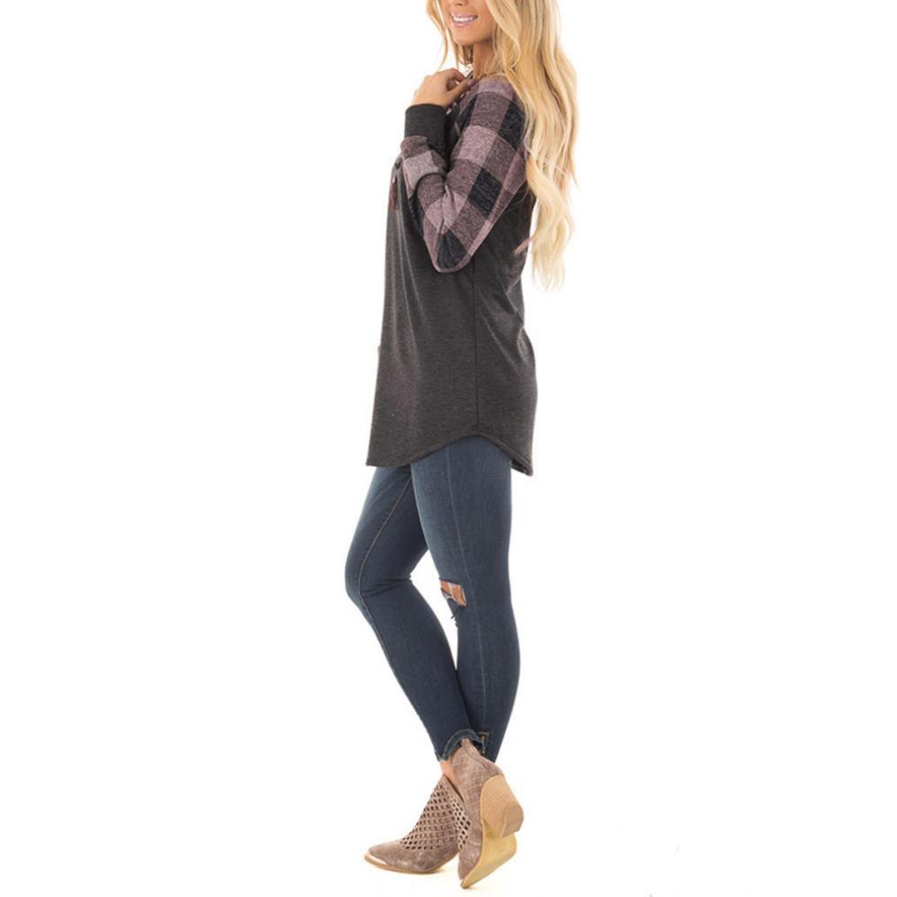 Camisetas y tops,Koly Mujer Moda Camisas Manga Larga Elegante Moda Patchwork Round Collar Blusas y camisas Suéteres T-shirt Pullover Sweatshirt Tee Jersey ...