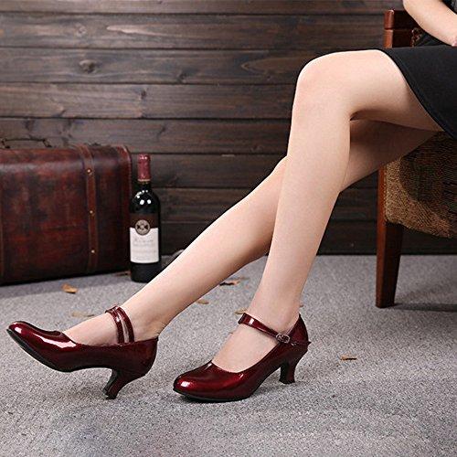 Latine Danse Tango Rondes Femme Bozevon Chaussures Cuir En Foncé toe Miroir Pu Closed De Rouge zTzqvcwa