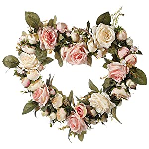 MeterMall Classic Artificial Wreath Simulation Flowers Garland for Home Room Garden Lintel Decoration,Roses Peonies Pink Roses 2