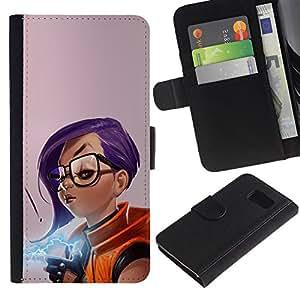 YiPhone /// Tirón de la caja Cartera de cuero con ranuras para tarjetas - Chica púrpura del pelo - Sony Xperia Z3 Compact