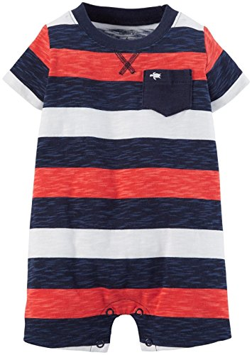 Carter's Baby Boys' Wide Striped Romper (Baby) - Navy/Red - 3 Months