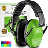 Vanderfields Earmuffs for Kids – Hearing Protection Muffs For Children Small Adults Women – Foldable Design Ear Defenders Protector with Adjustable Padded Headband for Optimal Noise Reduction - Green