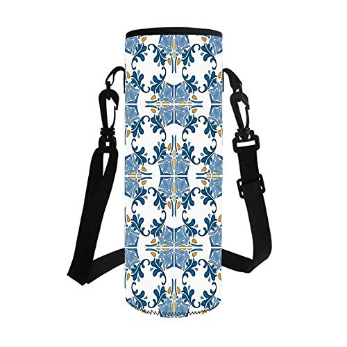 Traditional House Decor Stylish Bottle Sleeve,Roman Tile Mosaic Design with Famous Artful Eastern Inspired Image for Bottle & Vacuum Cup,3.1''L x 3.1''W x 7.4''H - Bath Roman Mosaics