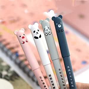8pcs Cute Kawaii Cartoon Cat Pig Bear Panda Animal Gel Ink Pen Ballpoint 0.35mm Black Ink Student Pens Rollerball Pens For Student Gift Stationery Office Supplies, Erasable Pen Friction Erasable Pen 14.5cm Black Ink