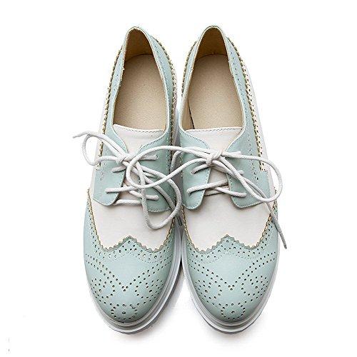 Morbido Lacci Pompe Punta Donne Amoonyfashion calzature Chiuso Materiale tacchi Tutto Blu tqUwOnIZw