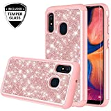 Galaxy A10e Case with Tempered Glass Screen Protector for Girls Women, Glitter Bling Sparkle Dual Layer Heavy Duty Protective Phone Cover Cases for Galaxy A10e - Rose Gold