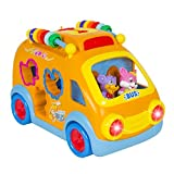 Best Choice Products Kids Toy Happy Animal School Bus Bump and Go Action With Music, Animal Sounds, Lights and Education Games Great Gift offers