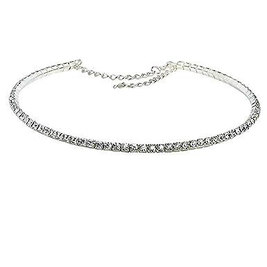 Très iShine 1 Rang de Diamants en Cristal Collier Ras de Cou Strass  FH08