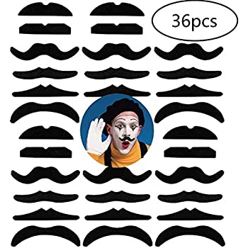 36pcs Self-Adhesive Fake Mustaches-Novel Fake Mustaches for Masquerade Party /& Performance