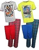 Sleep On It Boys 6-Piece Spring Pajama (2 Full Set) Skateboard/Pizza, Small/6-7'