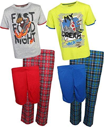 Sleep On It Boys 6-Piece Spring Pajama (2 Full Set) Skateboard/Pizza, Small/6-7' by Sleep On It (Image #7)