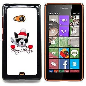 """Qstar Arte & diseño plástico duro Fundas Cover Cubre Hard Case Cover para Nokia Lumia 540 (Invierno Navidad Pug Boston Terrier X-Mas de vacaciones"""")"""