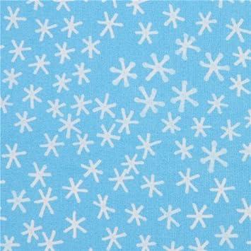 Tela algodón orgánico azul Festive copo de nieve blanco Cloud 9: Amazon.es: Hogar