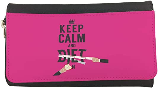 محفظة مصنوعة من الجلد keep kalm & diet بطبعة