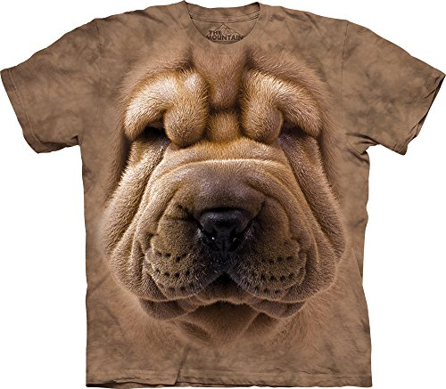The Mountain Big Face Shar Pei Puppy Adult T-Shirt, Brown, Large
