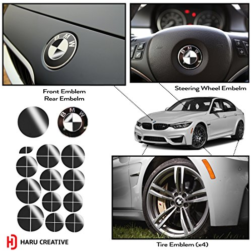 Haru Creative - Vinyl Overlay Aftermarket Decal Sticker Compatible with and Fits All BMW Emblem Caps for Hood Trunk Wheel Fender (Emblem Not Included) - Gloss Black