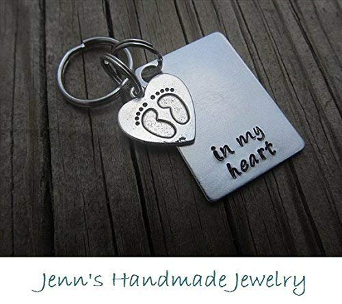 Amazoncom Hand Stamped Keychain In My Heart With A Footprints