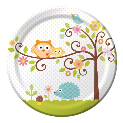 8-Count Round Paper Dinner Plates, Happi Tree Sweet Baby -