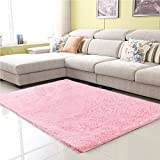 Junovo Ultra Soft Contemporary Fluffy Thick Indoor Area Rug for Home Decor Living Room Bedroom Kitchen Dormitory,4' x 5.3',Pink