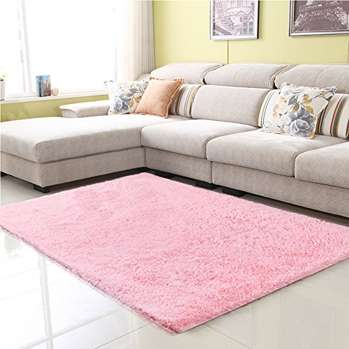 Junovo Ultra Soft Contemporary Fluffy Thick Indoor Area Rug for Home Decor Living Room Bedroom Kitchen Dormitory,4' x 5.3',Pink (Nursery Rugs Pink)