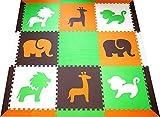 SoftTiles Interlocking Children's Foam Play Mats- Safari Animals Orange, Lime, Brown, and White- Premium Foam Mats for Kids Playrooms and Baby Nursery- (6.5' x 6.5') OLBW