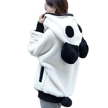 LMMVP Abrigo con Capucha para niñas Mujer Linda Oso de Oso Panda Invierno Calentar Manga Larga Chaqueta Abrigos de Mujer