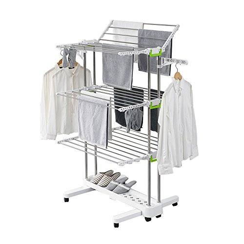 51pyqBA0UaL - Newerlives BR505 3-tier Collapsible Clothes Drying Rack with Casters, Stainless Steel Hanging Rods, Indoor & Outdoor Use