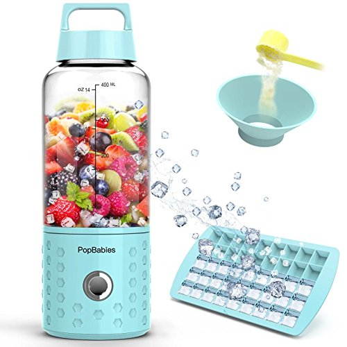 Personal Blender, PopBabies Travel Blender for single served, USB Rechargeable Small Blender for Shakes and Smoothies Stronger and Faster with Ice Tray Funnel and Recipe (FDA and BPA free)