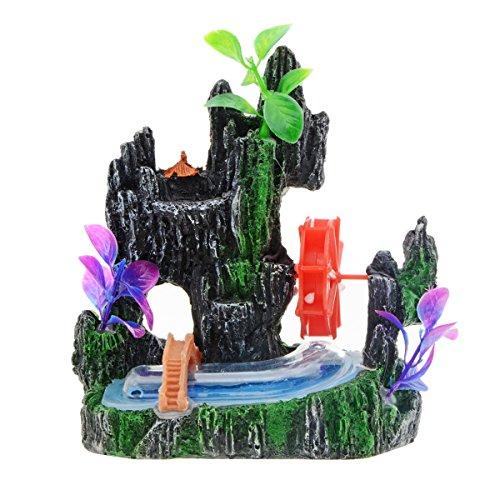 Arch Aquarium Ornament - Saim Aquarium Fish Tank Mountain Ornaments Resin Decorative Rocks Stone Red Waterwheel Arch Bridge Lifelike Artificial Plants Grass Landscape Décor for Small Fish Shrimp to Swim Hide Play