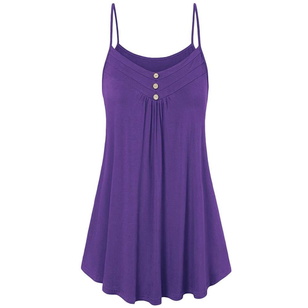 iLUGU Women Summer Loose Button Strapless V Neck Cami Vest Tank Sleeveless Top Blouse Purple