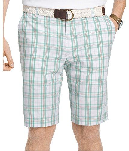 Creme Short (IZOD Men's Flat Front Plaid Short, Crème De Menth, 36W)