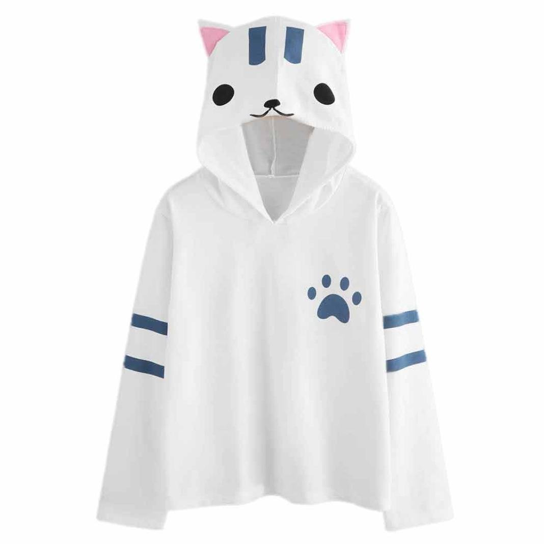 Hot Sale! Women's Blouse,AmyDong Women's casual long-sleeved Lady cute Cat hooded long sleeves loose jacket (M, White)