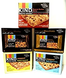 Kind Healthy Grains, New Flavors Variety Pack  1 Box of Caramel Macchiato, 1 Box of Dark Chocolate Mocha, 1 Box of Peanut Butter Berry, 1 Box of Popped Dark Chocolate with Sea Salt, 1 Box of Popped Salted Caramel. Each Box Contains 5 bars (5 Pack). 25 Tot