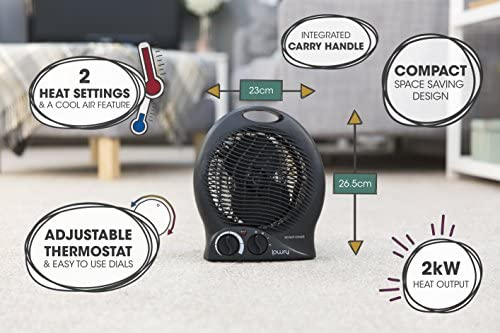 Lowry LUFH2005B Upright 2KW Compact & Portable Black Electric Fan Heater with 2 Heat Settings, Adjustable Thermostat, Integrated Handle, 1 Year Guarantee