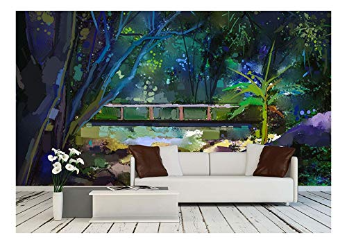 wall26 - Oil Painting Landscape with Wooden Bridge Over Creek in Forest - Removable Wall Mural | Self-Adhesive Large Wallpaper - 100x144 inches