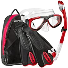 Cressi Made In Italy Palau Short Brisbane Mask Fin Snorkel Set, RD-ML