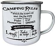 Camping Rules Retro,Tin, Enamel 10oz Mug j474e