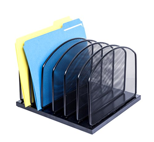 Metal Desktop File Organizer, 6 Vertical Compartment Metal Mesh Organizer, Perfect for home or office organization, Stores binders, folders,letter files, papers, books, and more (Metal Environment Office)