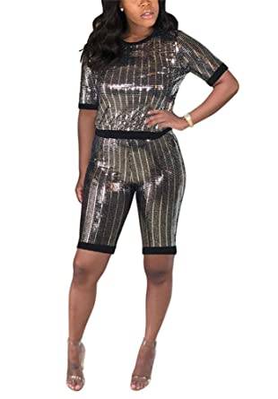 6d23341a Womens Two Piece Outfits Sequin Long Sleeve Crop Tops Long Pants Sweatsuits  Tracksuits Set at Amazon Women's Clothing store: