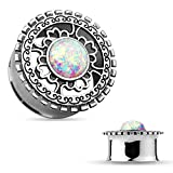 PAIR of Antique Silver Shield with Opal Center Double Flare Steel Tunnels Plugs (0g (8mm) )