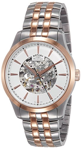 Rotary GB05034-06 Mens Two Tone Rose Gold Plated Skeleton Mechanical Watch