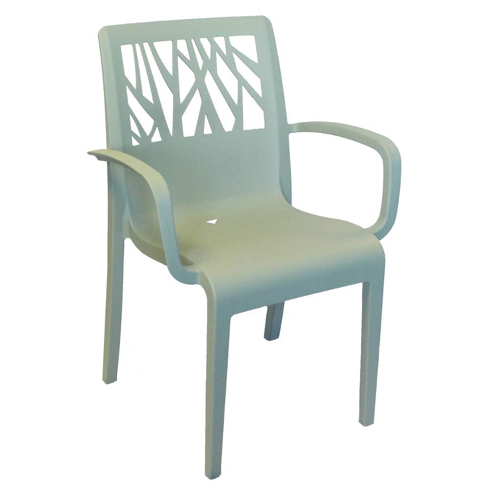 Grosfillex US211721 Vegetal Stacking Armchair, Sage Blue (Case of 4)