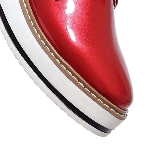 Womens Shoes AmoonyFashion Closed PU Solid Elastic Round Red Pumps Kitten Heels Toe dwg7wq