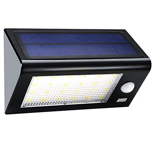 Amir Garten Solarleuchten, Wireless Wetterfeste Sicherheits Licht/ solarleuchten mit bewegungsmelder aussen mit 24 LED für Garten, im Freien, Zaun, Terrasse, Haus, Auffahrt, Treppen, Außenwand usw.