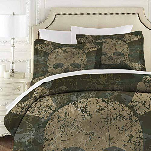 Camo Comforter Bedding Set Rusty Aged Camo Design Twin (68x90 inches) - 3 Pieces (1 Duvet Cover + 2 Pillow Shams) - with Zipper Closure Ultra