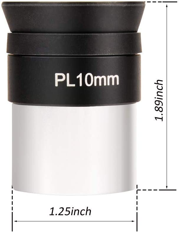 Threaded for Standard 1.25 Telescope Filters and Other Devices Fully Coated 10mm Plossl Telescope Eyepiece with 52 Degree FOV